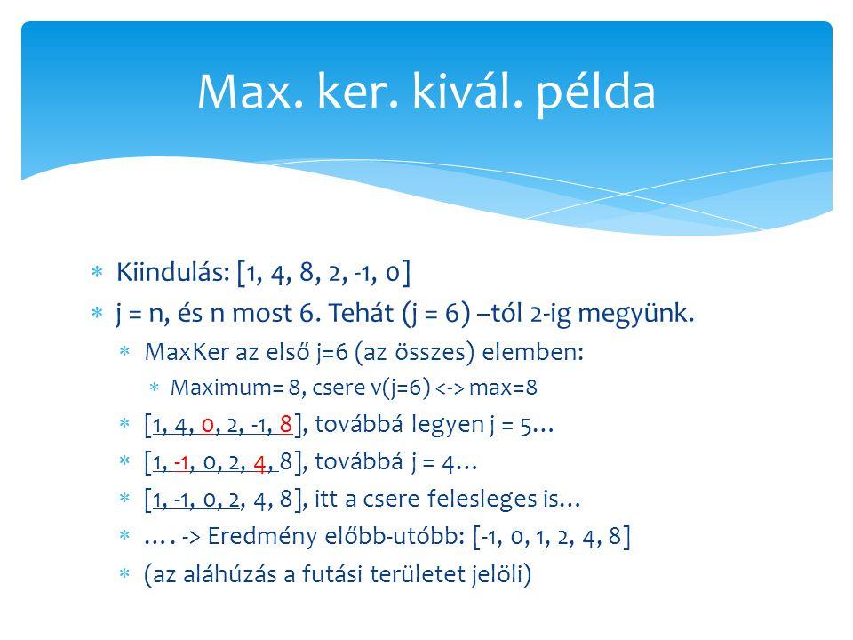 Max. ker. kivál. példa Kiindulás: [1, 4, 8, 2, -1, 0]